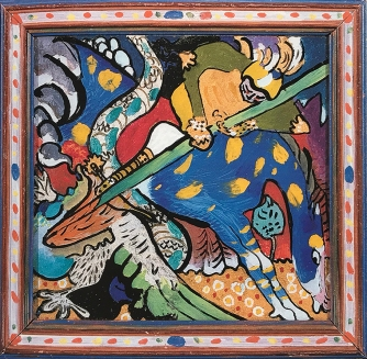 St George I , Glass painting, 1911, Kandinsky.
