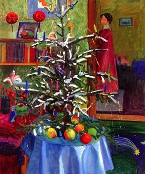 Interior with Christmas tree, Gabriele Münter 1910.