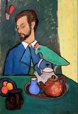 Kandinsky at tea, 1910, by Gabriele Münter.