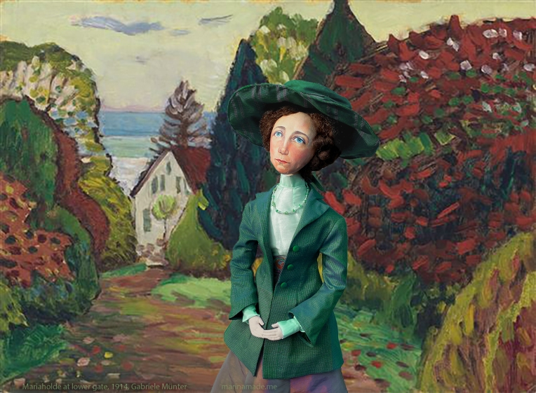 Gabriele muse in Mariaholde at lower gate, painting by Gabriele Münter 1914.