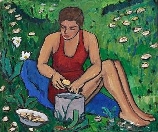 Miss Ellen on the grass, 1934, Gabriele Münter