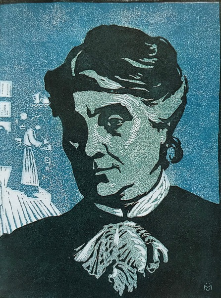 Mme. Vernot with Aurilie, coloured linocut, by Gabriele Münter 1906 .