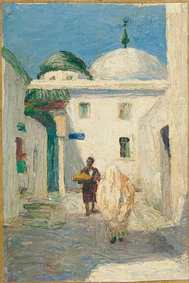 Mosque in Tunisia, painting by Gabriele Münter, 1905.
