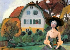 Muse of Gabriele in photomontage of the 'Russian House in Murnau', 1931, Gabriele Münter