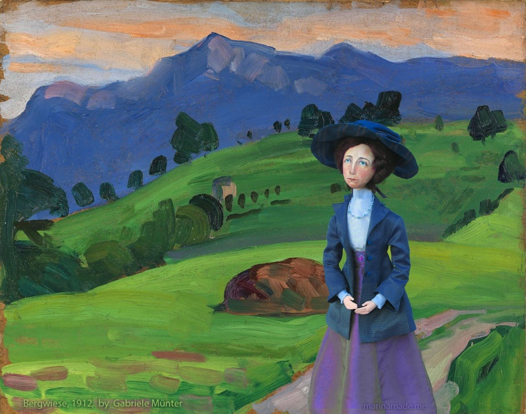 Muse imagined walking at Bergwiese, painted by Gabriele Münter in 1912.