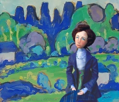 Muse in landscape, gouache on paper by Gabriele Münter.