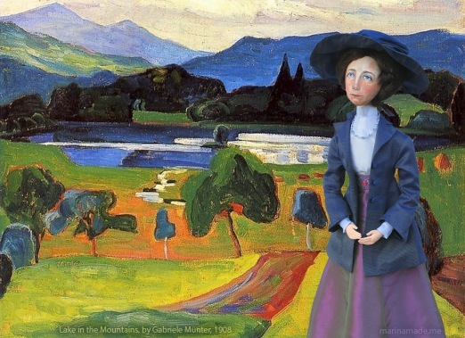 Muse of Gabriele against 'Lake in the Mountains', 1908, Gabriele Münter.
