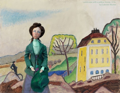 Muse in Landscape with a yellow house, 1916, Gabriele Münter.