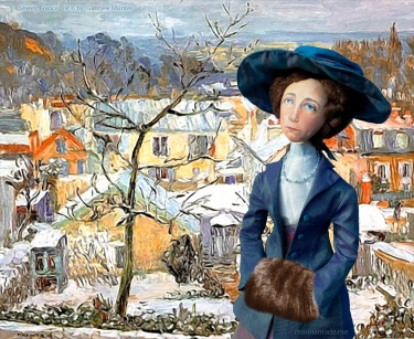 Gabriele muse in Sèvres, France, 1906, painting by Gabriele Munter.