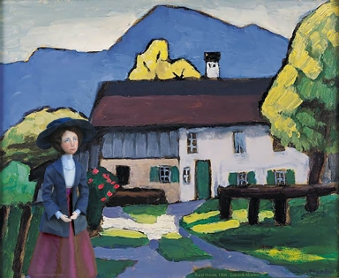 Muse with Rural House, a painting by Gabriele Münter, 1908.