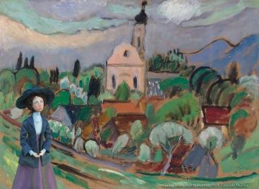 Muse in 'Spring with church, Murnau', 1924, by Gabriele Münter