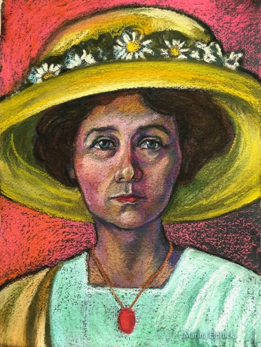 Pastel drawing of Gabriele Münter by Marina Elphick, based on Gabriele's self portrait in oils.