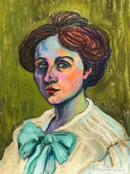 Pastel sketch of Gabriele Münter by Marina Elphick, 2020.