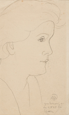 Portrait of Walli Nagel, line drawing by Gabriele Münter, 1928.