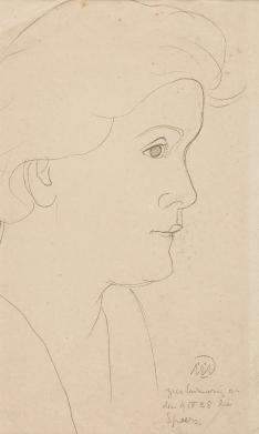Portrait of Walli Nagel, line drawing by Gabriele Münter, 1928.