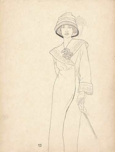 Portrait of a woman with hat, Gabriele Münter 1901, Pencil drawing.