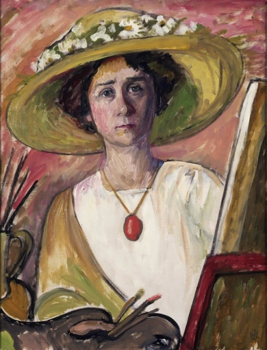 Self-Portrait in front of an easel, 1909, Gabriele Münter.