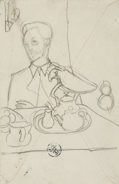 Sketch for 'Kandinsky at the tea table' by Gabriele Münter, 1910.