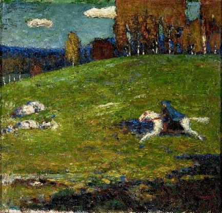 The Blue Rider (Der Blaue Reiter) oil, Wassily Kandinsky, 1903.