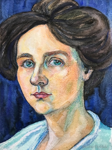 Watercolour drawing of Gabriele Münter by Marina Elphick. 2020