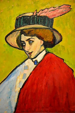 Young woman in a large hat 1909, by Gabriele Münter.